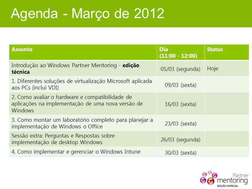Agenda - Março de 2012 AssuntoDia (11:00 - 12:00) Status Introdução ao Windows Partner Mentoring - edição técnica 05/03 (segunda) Hoje 1.