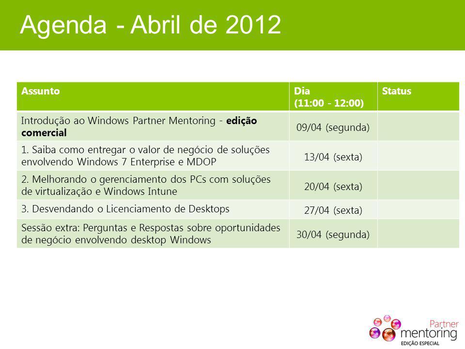 Agenda - Abril de 2012 AssuntoDia (11:00 - 12:00) Status Introdução ao Windows Partner Mentoring - edição comercial 09/04 (segunda) 1.