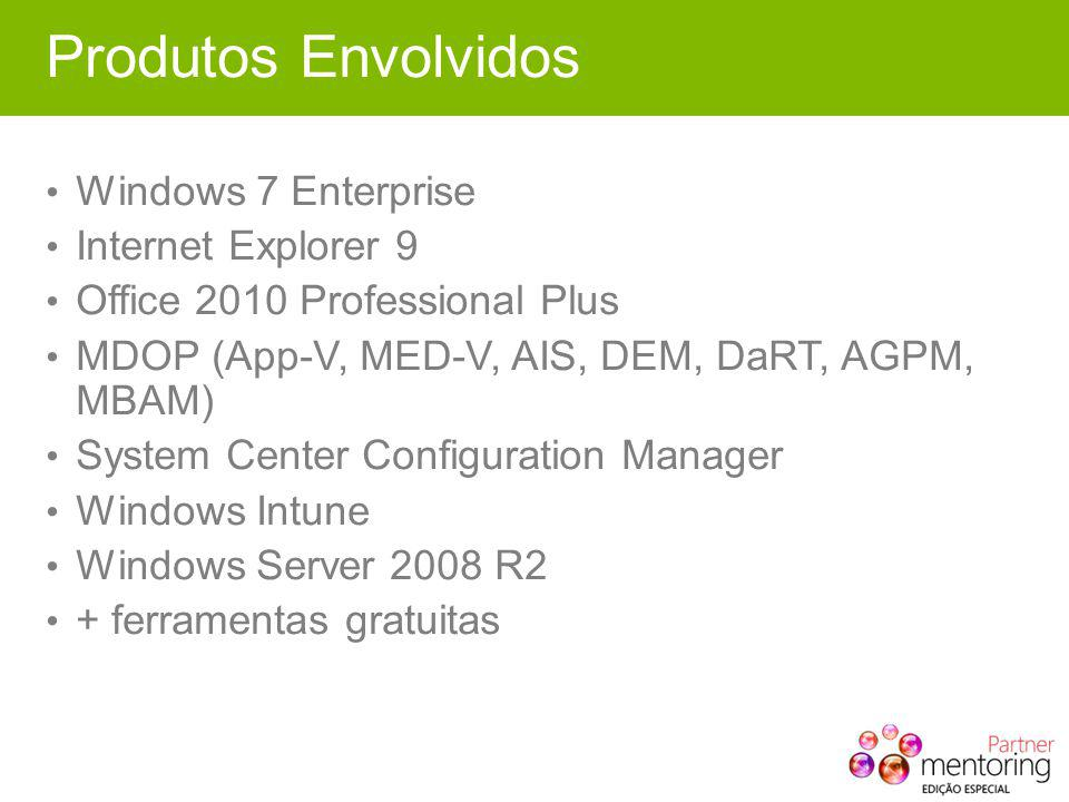 Produtos Envolvidos Windows 7 Enterprise Internet Explorer 9 Office 2010 Professional Plus MDOP (App-V, MED-V, AIS, DEM, DaRT, AGPM, MBAM) System Center Configuration Manager Windows Intune Windows Server 2008 R2 + ferramentas gratuitas