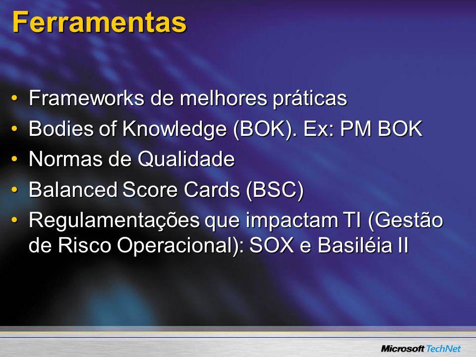 Ferramentas Frameworks de melhores práticasFrameworks de melhores práticas Bodies of Knowledge (BOK). Ex: PM BOKBodies of Knowledge (BOK). Ex: PM BOK