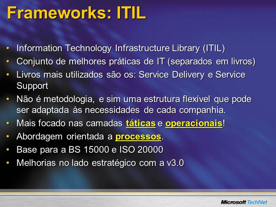 Frameworks: ITIL Information Technology Infrastructure Library (ITIL)Information Technology Infrastructure Library (ITIL) Conjunto de melhores prática