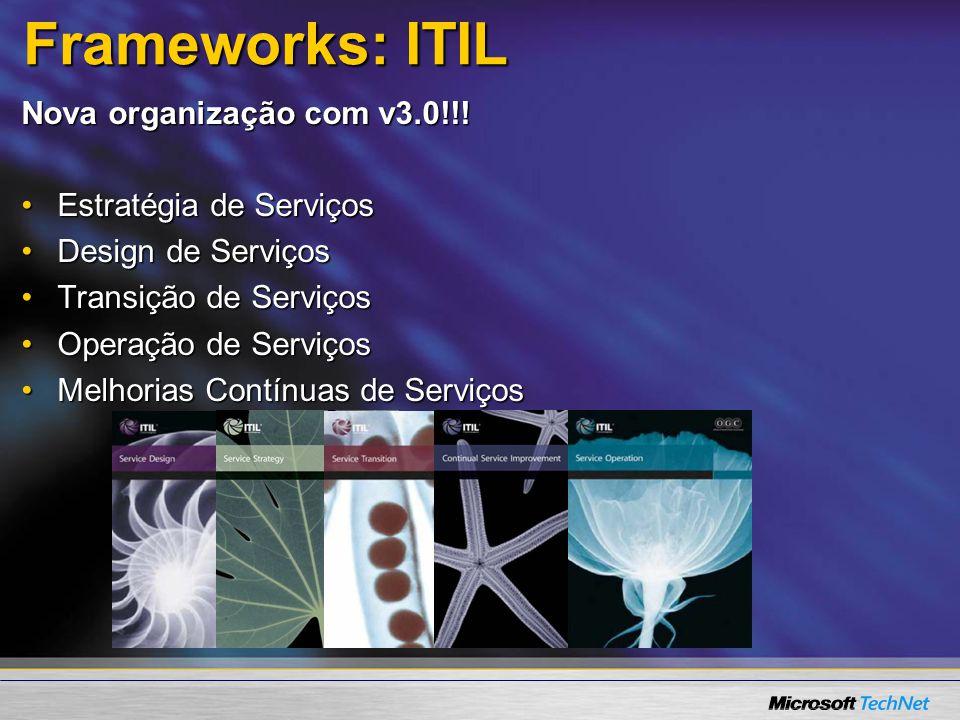 Frameworks: ITIL Nova organização com v3.0!!! Estratégia de ServiçosEstratégia de Serviços Design de ServiçosDesign de Serviços Transição de ServiçosT