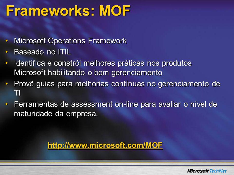 Frameworks: MOF Microsoft Operations FrameworkMicrosoft Operations Framework Baseado no ITILBaseado no ITIL Identifica e constrói melhores práticas no