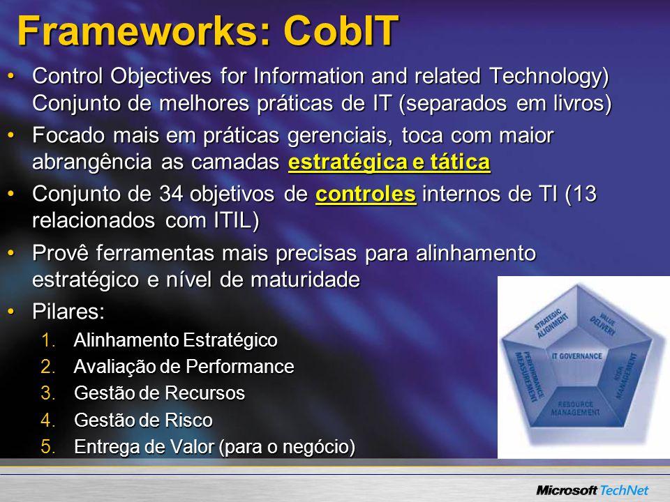 Frameworks: CobIT Control Objectives for Information and related Technology) Conjunto de melhores práticas de IT (separados em livros)Control Objectiv