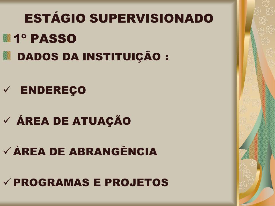 ESTÁGIO SUPERVISIONADO 1º PASSO DADOS DA INSTITUIÇÃO : ENDEREÇO ÁREA DE ATUAÇÃO ÁREA DE ABRANGÊNCIA PROGRAMAS E PROJETOS