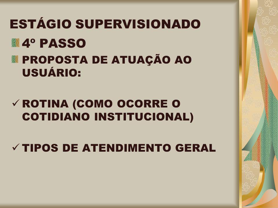 ESTÁGIO SUPERVISIONADO 4º PASSO PROPOSTA DE ATUAÇÃO AO USUÁRIO: ROTINA (COMO OCORRE O COTIDIANO INSTITUCIONAL) TIPOS DE ATENDIMENTO GERAL