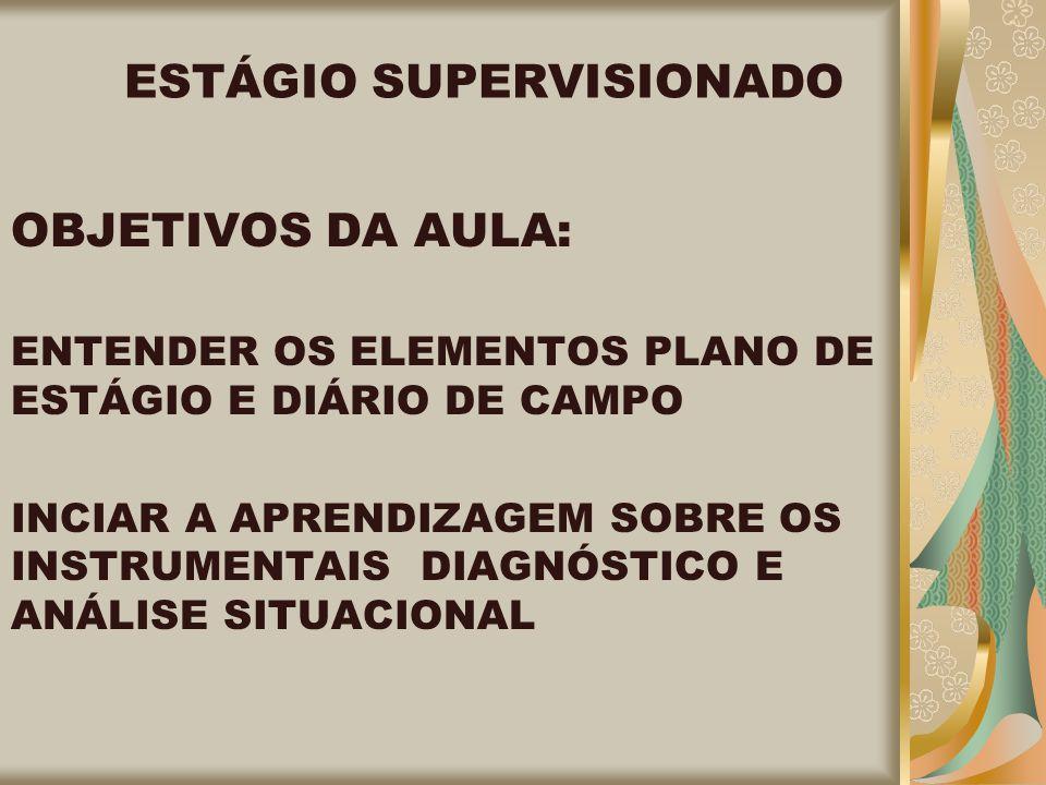 ESTÁGIO SUPERVISIONADO OBJETIVOS DA AULA: ENTENDER OS ELEMENTOS PLANO DE ESTÁGIO E DIÁRIO DE CAMPO INCIAR A APRENDIZAGEM SOBRE OS INSTRUMENTAIS DIAGNÓSTICO E ANÁLISE SITUACIONAL