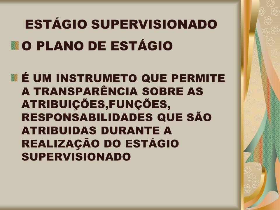 ESTÁGIO SUPERVISIONADO O PLANO DE ESTÁGIO É UM INSTRUMETO QUE PERMITE A TRANSPARÊNCIA SOBRE AS ATRIBUIÇÕES,FUNÇÕES, RESPONSABILIDADES QUE SÃO ATRIBUIDAS DURANTE A REALIZAÇÃO DO ESTÁGIO SUPERVISIONADO