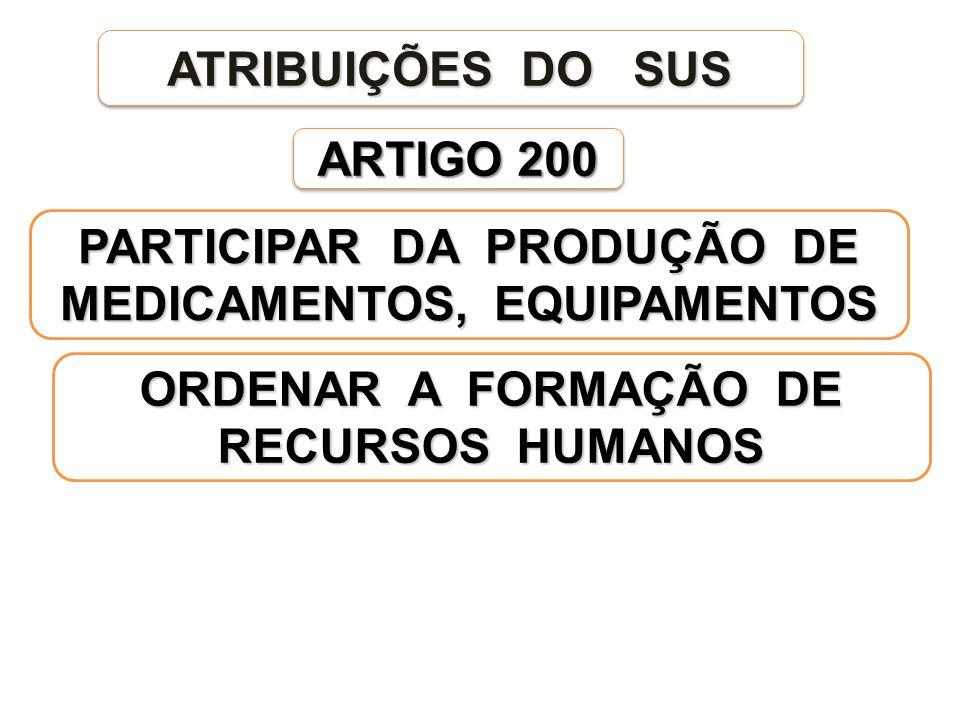 ARTIGO 200 ATRIBUIÇÕES DO SUS PARTICIPAR DA PRODUÇÃO DE MEDICAMENTOS, EQUIPAMENTOS ORDENAR A FORMAÇÃO DE RECURSOS HUMANOS