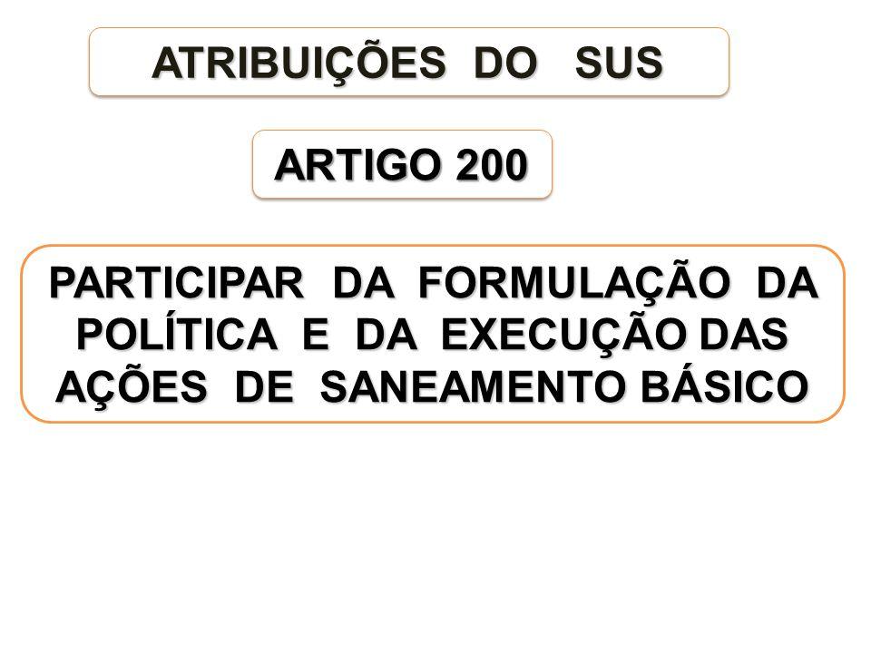 ARTIGO 200 PARTICIPAR DA FORMULAÇÃO DA POLÍTICA E DA EXECUÇÃO DAS AÇÕES DE SANEAMENTO BÁSICO ATRIBUIÇÕES DO SUS