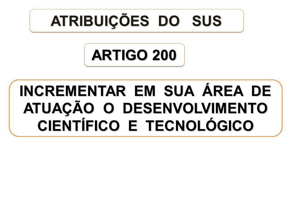 ARTIGO 200 ATRIBUIÇÕES DO SUS INCREMENTAR EM SUA ÁREA DE ATUAÇÃO O DESENVOLVIMENTO CIENTÍFICO E TECNOLÓGICO
