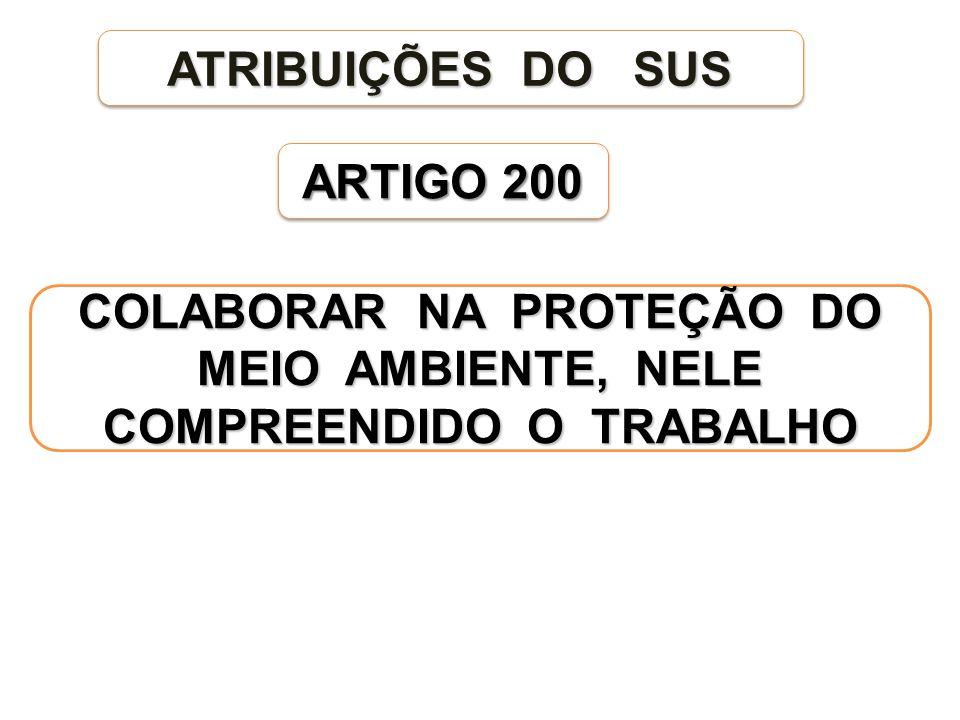 ARTIGO 200 ATRIBUIÇÕES DO SUS COLABORAR NA PROTEÇÃO DO MEIO AMBIENTE, NELE COMPREENDIDO O TRABALHO