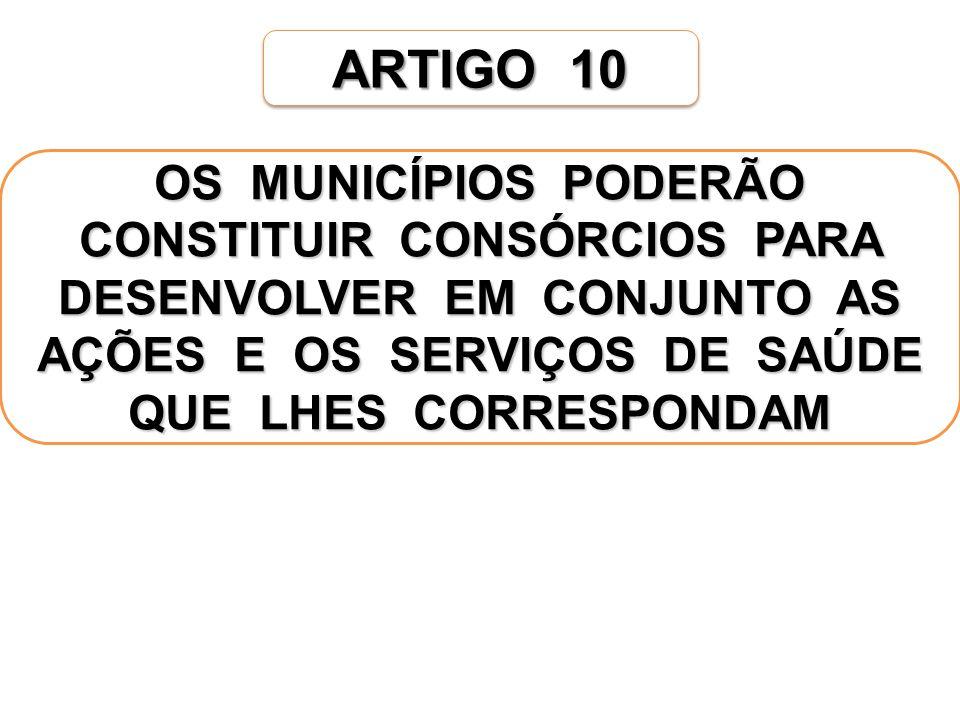 ARTIGO 10 OS MUNICÍPIOS PODERÃO CONSTITUIR CONSÓRCIOS PARA DESENVOLVER EM CONJUNTO AS AÇÕES E OS SERVIÇOS DE SAÚDE QUE LHES CORRESPONDAM
