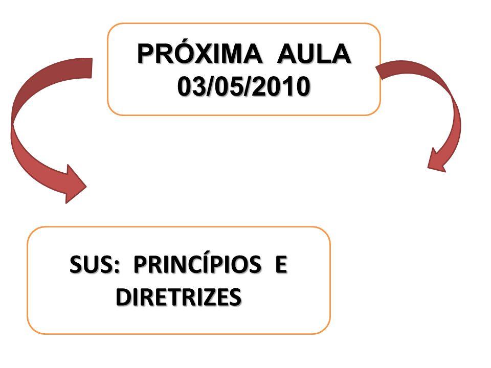 SUS: PRINCÍPIOS E DIRETRIZES PRÓXIMA AULA 03/05/2010
