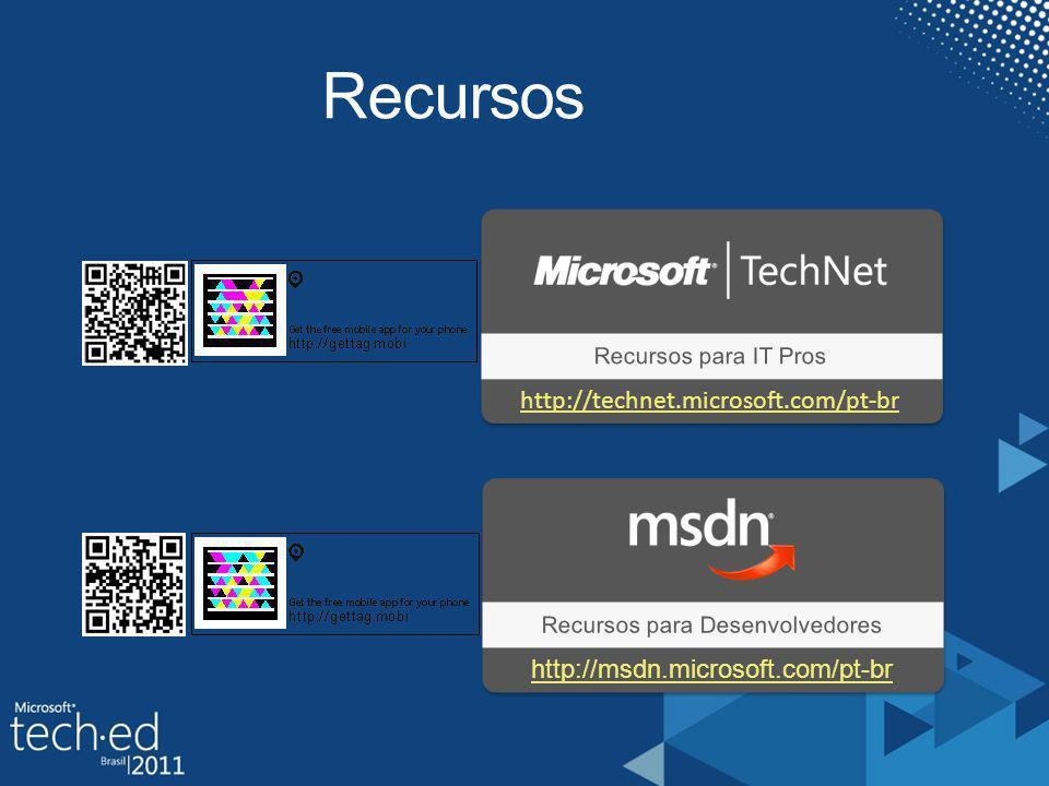 Recursos Recursos para IT Pros Recursos para Desenvolvedores http://technet.microsoft.com/pt-br http://msdn.microsoft.com/pt-br