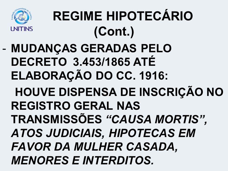 REGIME HIPOTECÁRIO -FORMAÇÃO DOS PRIMEIROS NEGÓCIOS. -NECESSIDADE DE GARANTIA. -LEI ORÇAMENTÁRIA Nº 317 DE 1843. -IMPORTANTE PAPEL SOCIAL E ECONÔMICO.