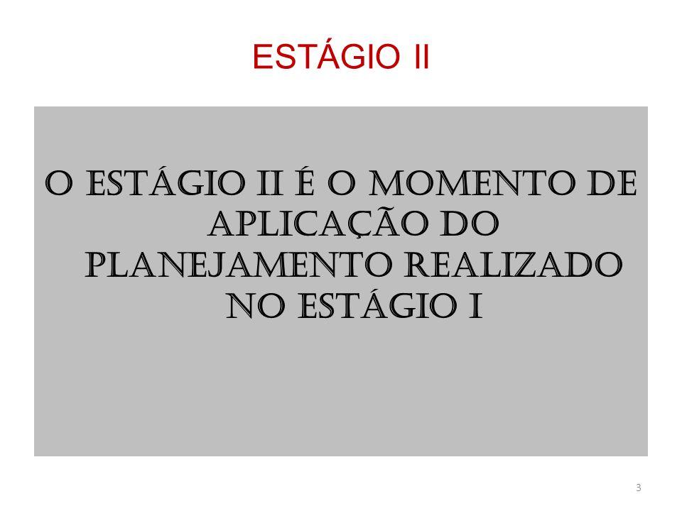 O ESTÁGIO II É O MOMENTO DE APLICAÇÃO DO PLANEJAMENTO REALIZADO NO ESTÁGIO I 3 ESTÁGIO II