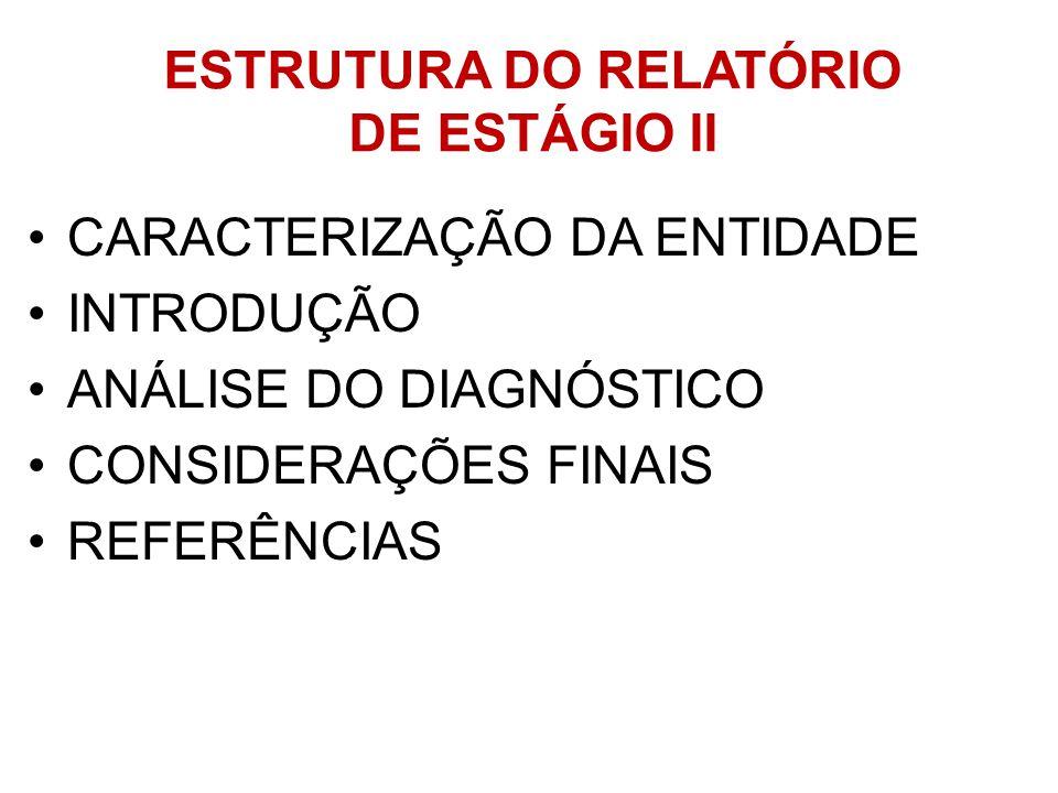 ESTRUTURA DO RELATÓRIO DE ESTÁGIO II CARACTERIZAÇÃO DA ENTIDADE INTRODUÇÃO ANÁLISE DO DIAGNÓSTICO CONSIDERAÇÕES FINAIS REFERÊNCIAS