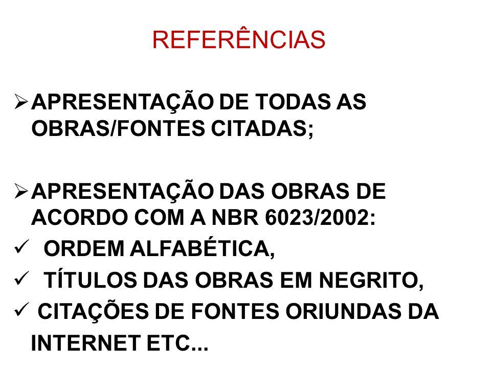 REFERÊNCIAS APRESENTAÇÃO DE TODAS AS OBRAS/FONTES CITADAS; APRESENTAÇÃO DAS OBRAS DE ACORDO COM A NBR 6023/2002: ORDEM ALFABÉTICA, TÍTULOS DAS OBRAS E