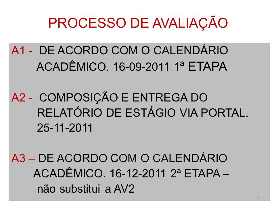 PROCESSO DE AVALIAÇÃO A1 - DE ACORDO COM O CALENDÁRIO ACADÊMICO. 16-09-2011 1 ª ETAPA A2 - COMPOSIÇÃO E ENTREGA DO RELATÓRIO DE ESTÁGIO VIA PORTAL. 25