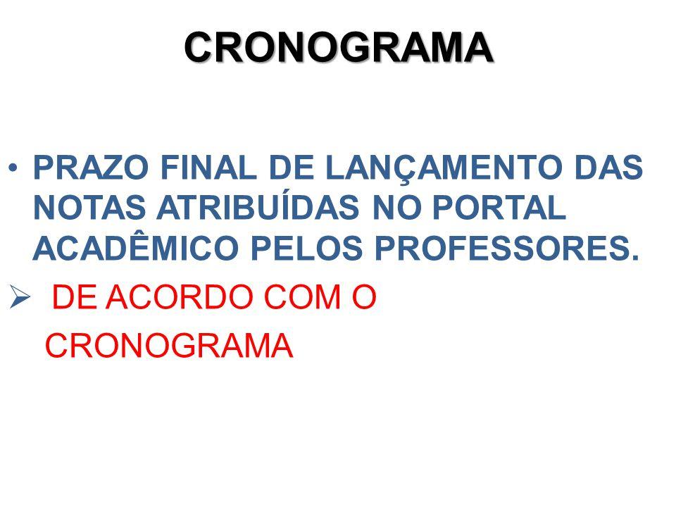 CRONOGRAMA PRAZO FINAL DE LANÇAMENTO DAS NOTAS ATRIBUÍDAS NO PORTAL ACADÊMICO PELOS PROFESSORES. DE ACORDO COM O CRONOGRAMA.