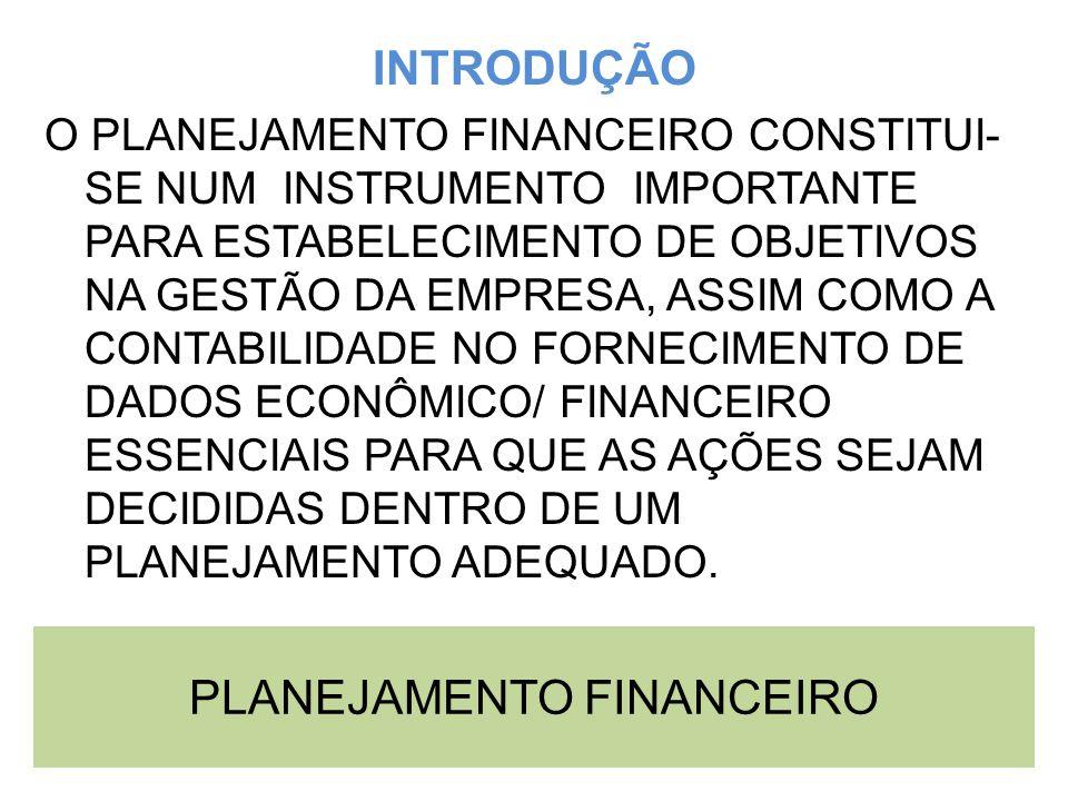 PLANEJAMENTO FINANCEIRO INTRODUÇÃO O PLANEJAMENTO FINANCEIRO CONSTITUI- SE NUM INSTRUMENTO IMPORTANTE PARA ESTABELECIMENTO DE OBJETIVOS NA GESTÃO DA E