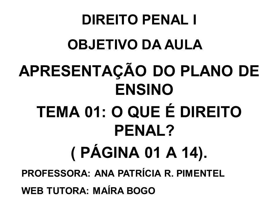 DIREITO PENAL I APRESENTAÇÃO DO PLANO DE ENSINO TEMA 01: O QUE É DIREITO PENAL? ( PÁGINA 01 A 14). PROFESSORA: ANA PATRÍCIA R. PIMENTEL WEB TUTORA: MA