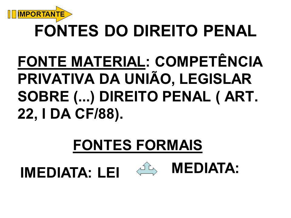 FONTES DO DIREITO PENAL FONTE MATERIAL: COMPETÊNCIA PRIVATIVA DA UNIÃO, LEGISLAR SOBRE (...) DIREITO PENAL ( ART. 22, I DA CF/88). FONTES FORMAIS IMED
