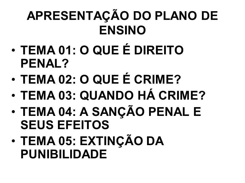 APRESENTAÇÃO DO PLANO DE ENSINO TEMA 01: O QUE É DIREITO PENAL? TEMA 02: O QUE É CRIME? TEMA 03: QUANDO HÁ CRIME? TEMA 04: A SANÇÃO PENAL E SEUS EFEIT