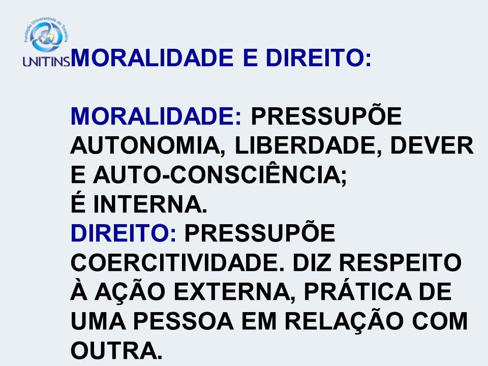 MORALIDADE E DIREITO: MORALIDADE: PRESSUPÕE AUTONOMIA, LIBERDADE, DEVER E AUTO-CONSCIÊNCIA; É INTERNA. DIREITO: PRESSUPÕE COERCITIVIDADE. DIZ RESPEITO