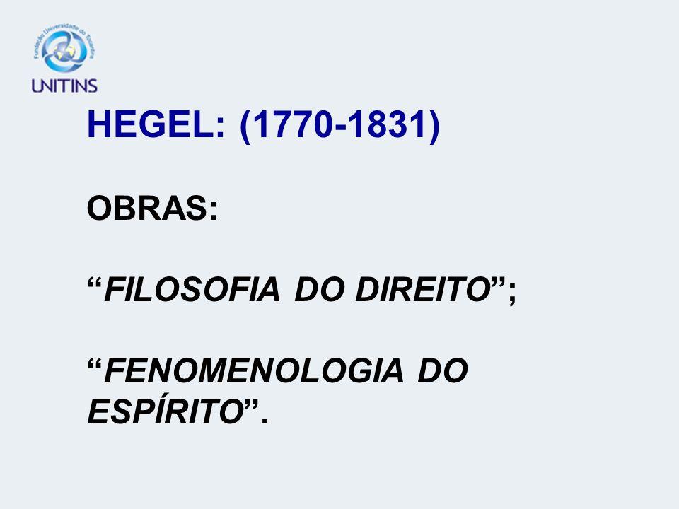 HEGEL: (1770-1831) OBRAS:FILOSOFIA DO DIREITO;FENOMENOLOGIA DO ESPÍRITO.