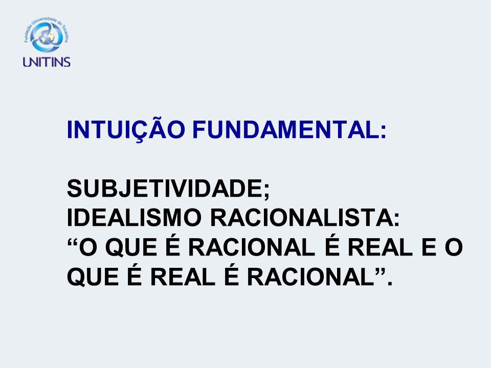 INTUIÇÃO FUNDAMENTAL: SUBJETIVIDADE; IDEALISMO RACIONALISTA: O QUE É RACIONAL É REAL E O QUE É REAL É RACIONAL.