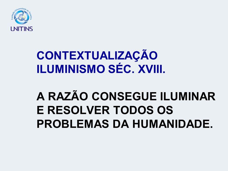 CONTEXTUALIZAÇÃO ILUMINISMO SÉC. XVIII. A RAZÃO CONSEGUE ILUMINAR E RESOLVER TODOS OS PROBLEMAS DA HUMANIDADE.