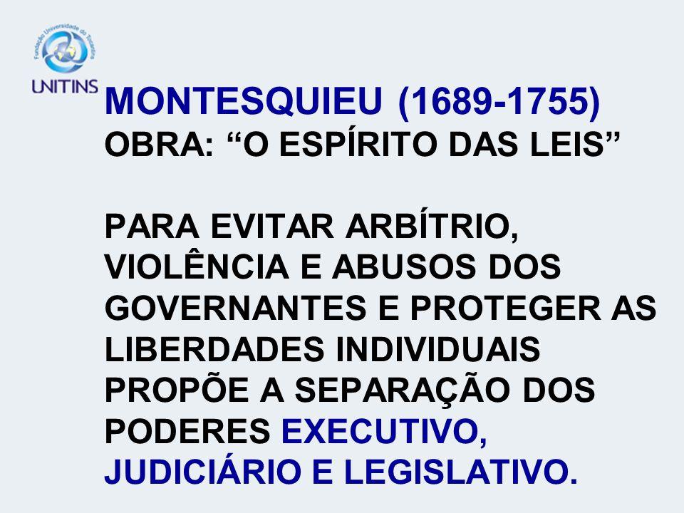 MONTESQUIEU (1689-1755) OBRA: O ESPÍRITO DAS LEIS PARA EVITAR ARBÍTRIO, VIOLÊNCIA E ABUSOS DOS GOVERNANTES E PROTEGER AS LIBERDADES INDIVIDUAIS PROPÕE