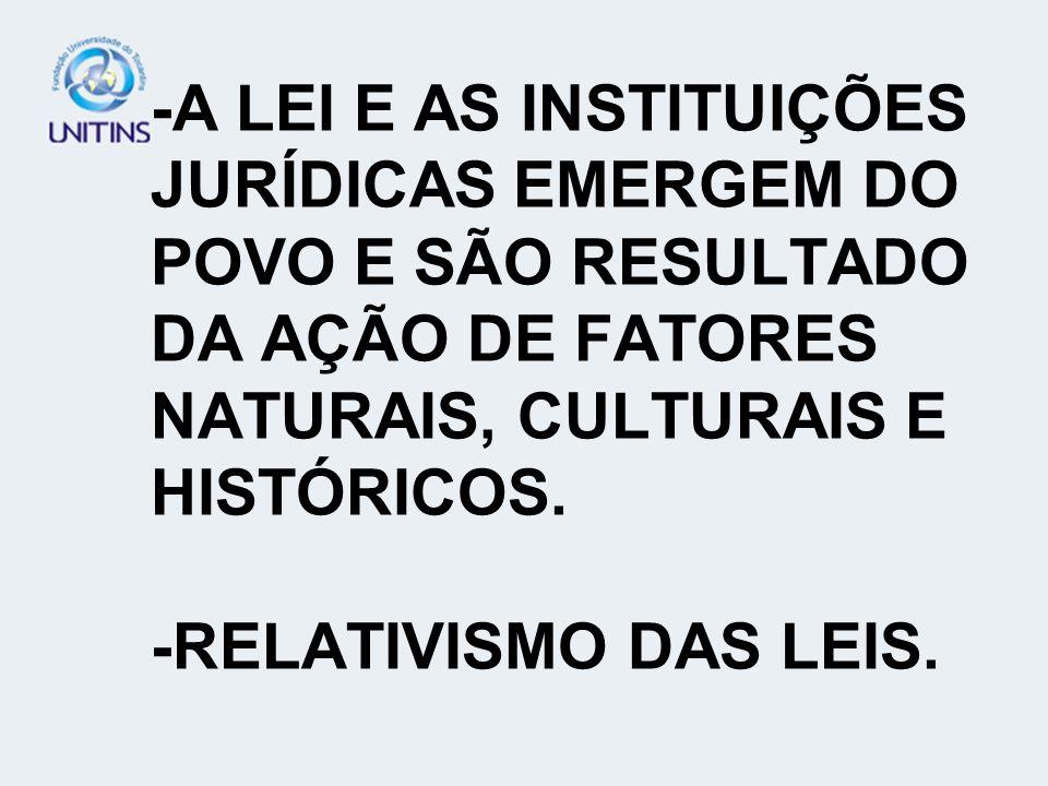 -A LEI E AS INSTITUIÇÕES JURÍDICAS EMERGEM DO POVO E SÃO RESULTADO DA AÇÃO DE FATORES NATURAIS, CULTURAIS E HISTÓRICOS. -RELATIVISMO DAS LEIS.