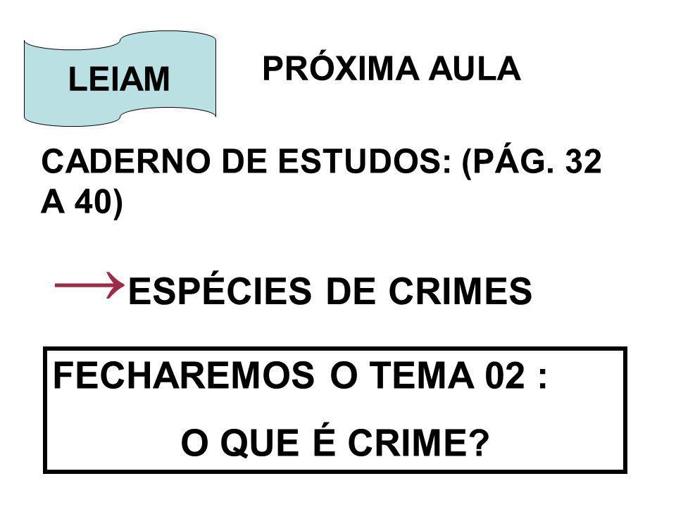 PRÓXIMA AULA CADERNO DE ESTUDOS: (PÁG. 32 A 40) LEIAM ESPÉCIES DE CRIMES FECHAREMOS O TEMA 02 : O QUE É CRIME?