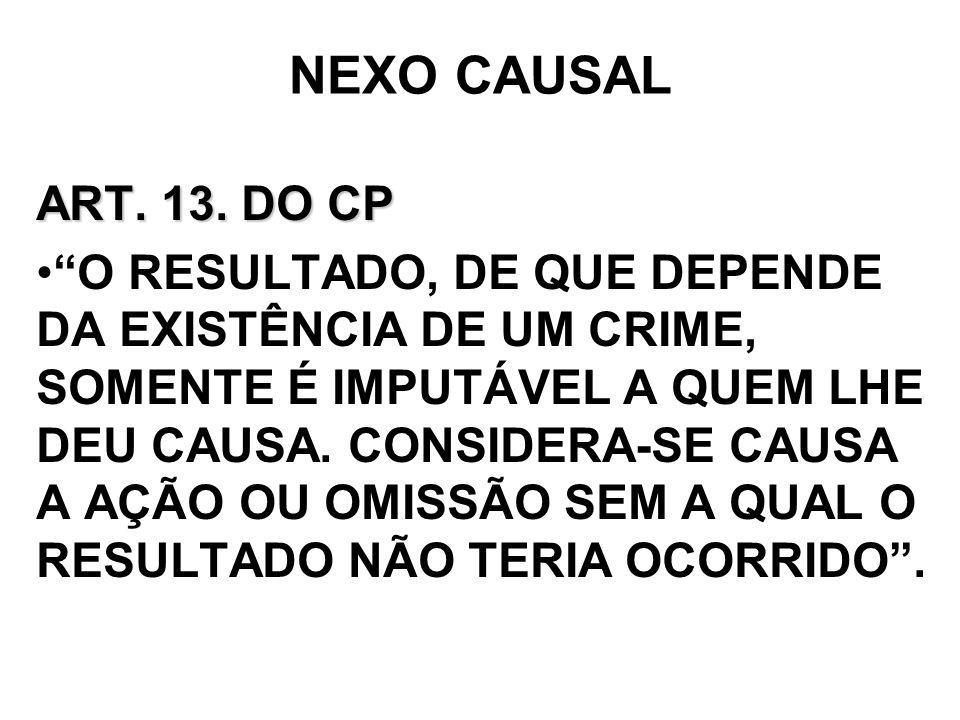 NEXO CAUSAL ART. 13. DO CP O RESULTADO, DE QUE DEPENDE DA EXISTÊNCIA DE UM CRIME, SOMENTE É IMPUTÁVEL A QUEM LHE DEU CAUSA. CONSIDERA-SE CAUSA A AÇÃO