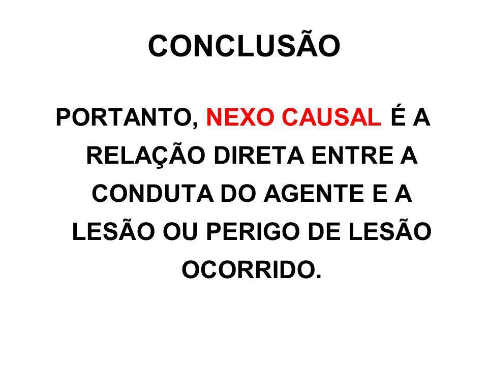 CONCLUSÃO PORTANTO, NEXO CAUSAL É A RELAÇÃO DIRETA ENTRE A CONDUTA DO AGENTE E A LESÃO OU PERIGO DE LESÃO OCORRIDO.