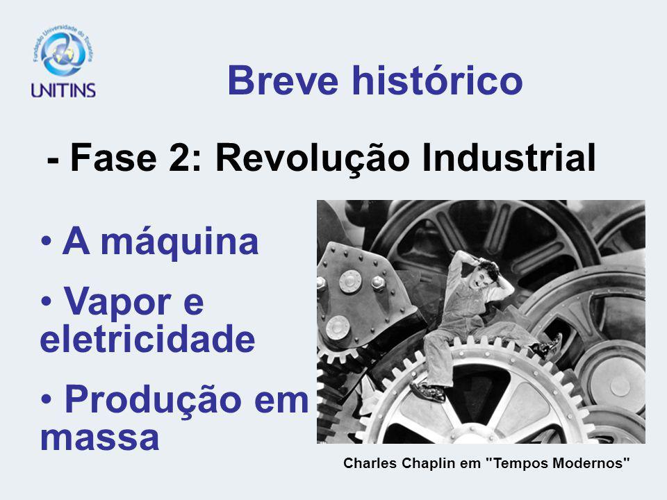 Breve histórico - Fase 2: Revolução Industrial A máquina Vapor e eletricidade Produção em massa Charles Chaplin em Tempos Modernos