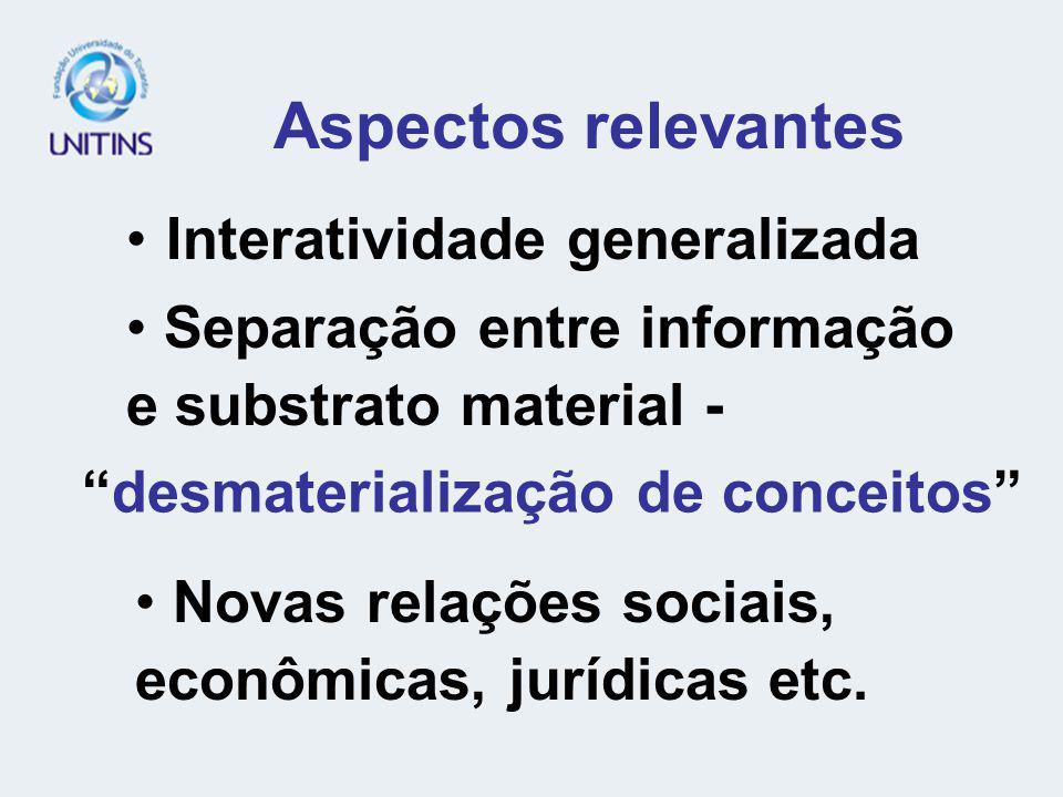 Aspectos relevantes Interatividade generalizada Novas relações sociais, econômicas, jurídicas etc. desmaterialização de conceitos Separação entre info
