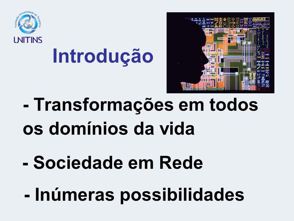- Transformações em todos os domínios da vida Introdução - Inúmeras possibilidades - Sociedade em Rede