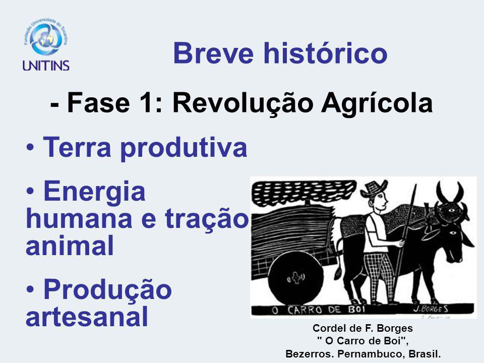 Breve histórico - Fase 1: Revolução Agrícola Terra produtiva Energia humana e tração animal Produção artesanal Cordel de F.