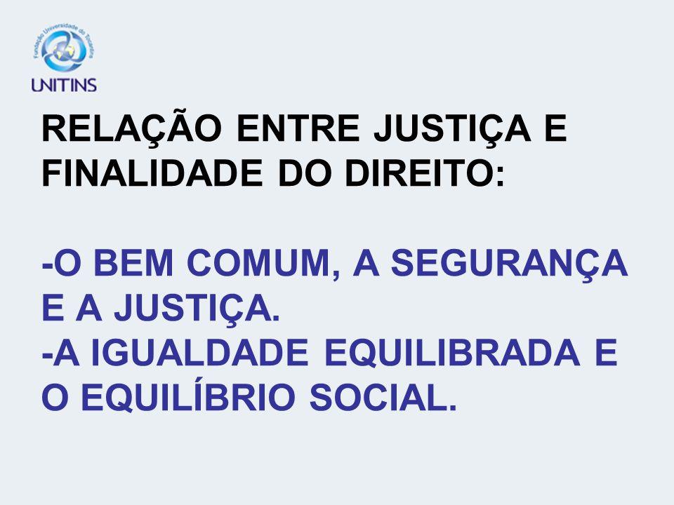 RELAÇÃO ENTRE JUSTIÇA E FINALIDADE DO DIREITO: -O BEM COMUM, A SEGURANÇA E A JUSTIÇA. -A IGUALDADE EQUILIBRADA E O EQUILÍBRIO SOCIAL.