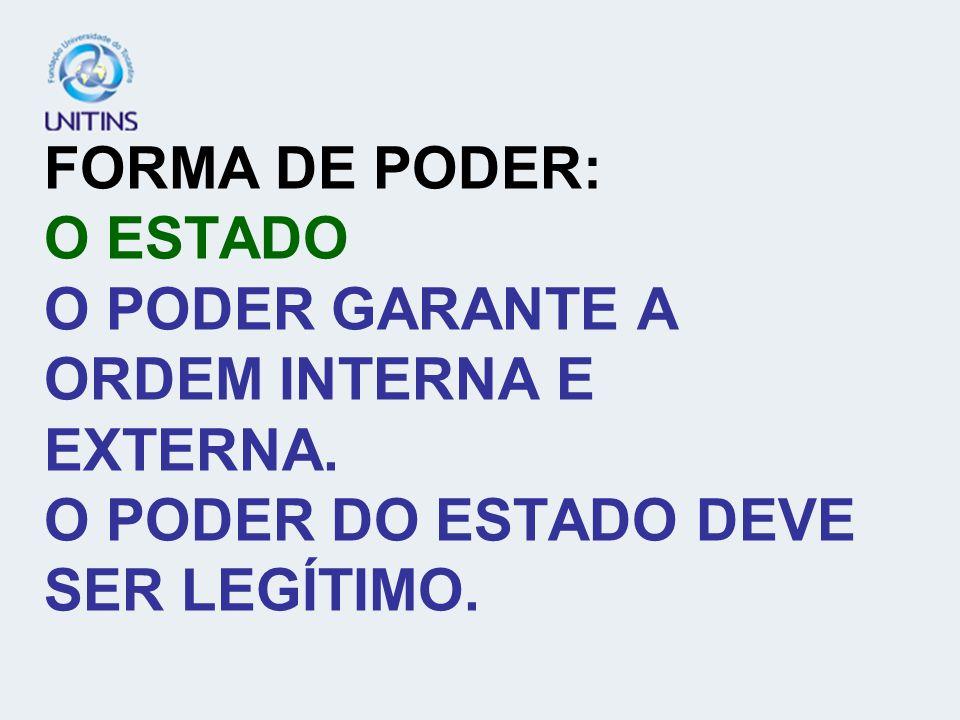 FORMA DE PODER: O ESTADO O PODER GARANTE A ORDEM INTERNA E EXTERNA. O PODER DO ESTADO DEVE SER LEGÍTIMO.