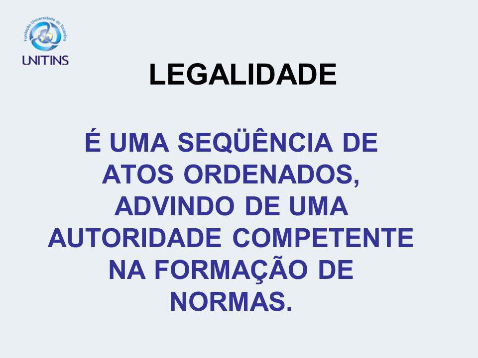LEGITIMIDADE NA NORMA JURÍDICA SERIA ATRIBUIR COMPETÊNCIA A UMA AUTORIDADE.