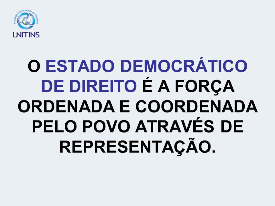 ESTADO DEMOCRÁTICO DE DIREITO O QUE É DEMOCRACIA? DEMOCRACIA VEM DA PALAVRA GREGA DEMOS QUE SIGNIFICA POVO. NAS DEMOCRACIAS, É O POVO QUEM DETÉM O POD