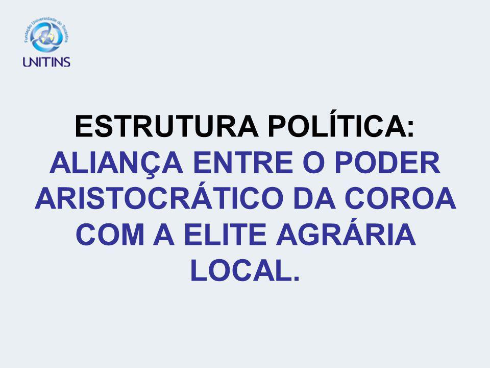 ESTRUTURA POLÍTICA: ALIANÇA ENTRE O PODER ARISTOCRÁTICO DA COROA COM A ELITE AGRÁRIA LOCAL.
