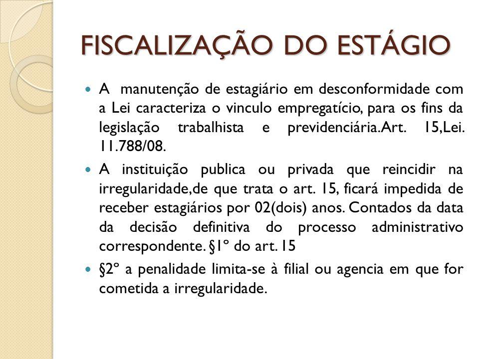 FISCALIZAÇÃO DO ESTÁGIO A manutenção de estagiário em desconformidade com a Lei caracteriza o vinculo empregatício, para os fins da legislação trabalhista e previdenciária.Art.