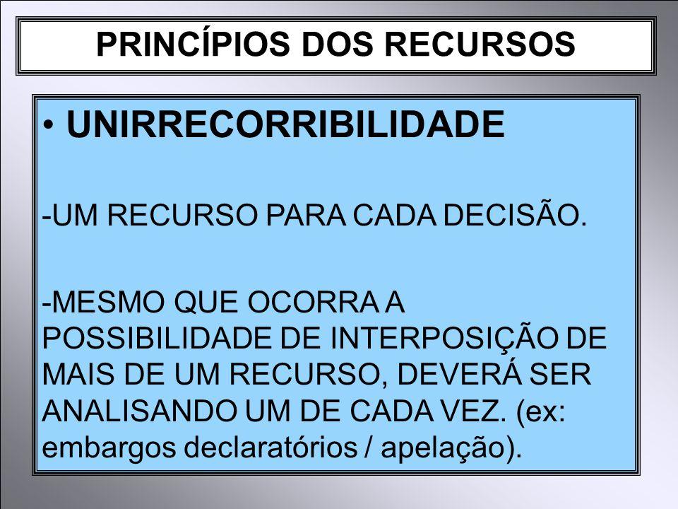 PRINCÍPIOS DOS RECURSOS UNIRRECORRIBILIDADE -UM RECURSO PARA CADA DECISÃO.