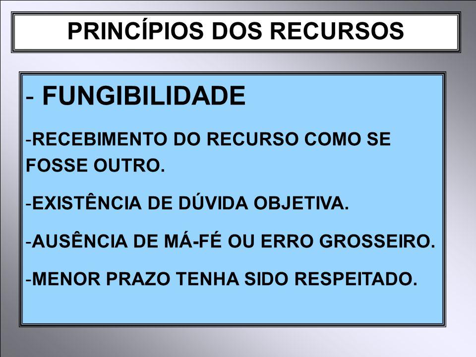PRINCÍPIOS DOS RECURSOS - FUNGIBILIDADE -RECEBIMENTO DO RECURSO COMO SE FOSSE OUTRO.